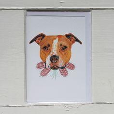 Fetch & Follow Greetings Card: Staffie