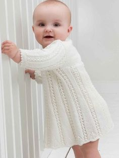 Baby Knitting Patterns White knitted lace baby robe, Free knitting pattern//Oh, I need I had considerably lady to make this for.so cute Baby Knitting Patterns Baby Knitting Patterns, Knitting For Kids, Lace Knitting, Baby Patterns, Dress Patterns, Häkelanleitung Baby, Baby Onesie, Baby Girls, White Baby Dress