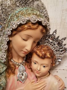 Ms Bingles Vintage Christmas: Interesting items on Etsy.and hoping for warmer weather! Blessed Mother Mary, Blessed Virgin Mary, Victorian Christmas, Vintage Christmas, Jesus Pictures, Religious Pictures, Mama Mary, Pink Trees, Holy Mary
