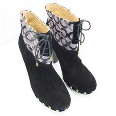 Coach Ediva Signature Lace Up Ankle Sz 8 Black Boots $75