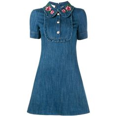 Gucci embroidered collar denim dress ($1,490) ❤ liked on Polyvore featuring dresses, blue, short-sleeve maxi dresses, blue short sleeve dress, embroidery dresses, short denim dress and print dress