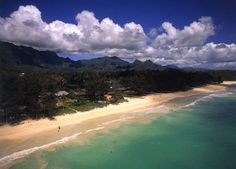 View of Waimanalo Beach Park from a helicopter