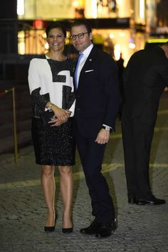 Crown Princess Victoria and Prince Daniel arrive for a concert at the Stockholm Concert Hall.
