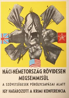Politikai plakátok 1945-1948 Political Posters, National Flag, Illustrations And Posters, Hungary, Vintage Posters, Projects To Try, Politics, War, Cartoon