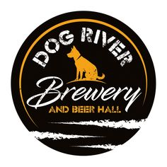New logo design by TJCD for Dog River Brewery based next to Dog River in Berlin, Vermont, USA. They brew beers and ales in their 10-barrel brewery. The beer hall is on location and resembles a German Beer Garden. https://www.facebook.com/dogriverbrewery/