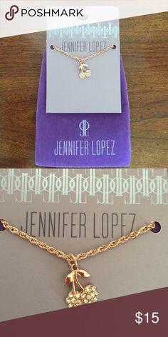 """NWT JENNIFER LOPEZ CHERRY NECKLACE! JENNIFER LOPEZ ROSE GOLD CHERRY NECKLACE!! Measures 7 /2"""" long! Jennifer Lopez Jewelry Necklaces"""