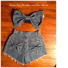 Denim Bow Bandeau Top with matching shorts Set. by StyleRehabInc, $55.00