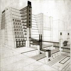 Perspective drawing from La Città Nuova, by Antonio Sant'Elia Futurism Architecture, Movement In Architecture, Futurism Art, Plans Architecture, Architecture Drawings, Architecture Design, Antonio Sant Elia, Draw Perspective, Bauhaus