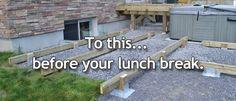 Titan Deck Foot - Ground Anchored Deck Footings In A Minute at DecksGo Deck Footings, Concrete Footings, Concrete Patio, Pergola Plans, Pergola Kits, Pergola Ideas, Outdoor Ideas, Outdoor Spaces, House Deck
