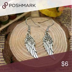 New angel wing rose earrings Pretty silvertone angel wing dangle earrings with rose Jewelry Earrings