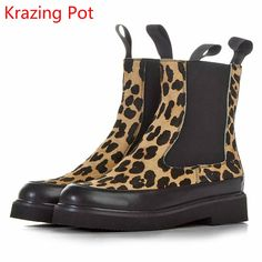 54.57$  Buy now - http://alivlw.shopchina.info/go.php?t=32790480883 - KRAZING POT Fashion Women Winter Brand Shoes Round Toe Horse Hair Leopard Grain Mid-calf Boots Low-heel Chelsea Platform Boots  #buyininternet