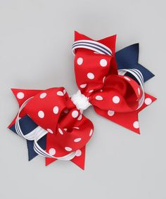 Look what I found on #zulily! Red & Navy Polka Dot Sweetie Pie Clip by Bubbly Bows #zulilyfinds