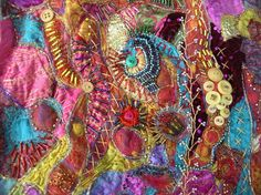 Fabric -crazy quilt stitching -  gorgeous.