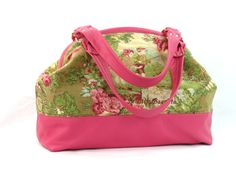 Pink Leather & Toile Doctor Bag style handbag Springtime Childhood Memories - pinned by pin4etsy.com