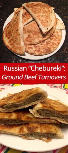 (from )Russian Chebureki Recipe - Ground Beef Turnovers! Ukrainian Recipes, Russian Recipes, Croatian Recipes, Hungarian Recipes, Ukrainian Food, Meat Recipes, Food Processor Recipes, Cooking Recipes, Cooking Tips