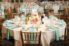 {Coral & Tiffany Blue} Summer Wedding|Photographer: Candace Jeffery Photography