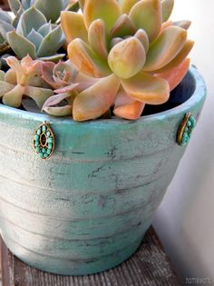 homework: Etceteras: inspired by turquoise {crackle paint} and Mod Podge Crackle Medium