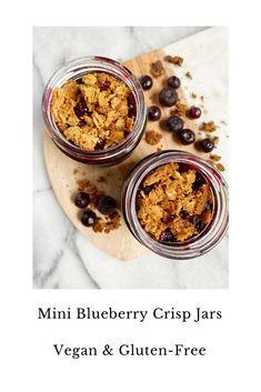 Healthy Gluten Free Recipes, Healthy Dessert Recipes, Vegan Gluten Free, Vegan Recipes, Gluten Free Blueberry, Vegan Blueberry, Crumble Recipe, Crisp Recipe, Blueberry Crisp