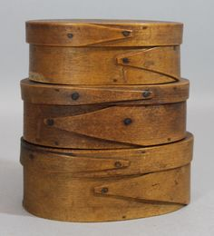 Nest of 3 Antique 19thC New England Primitive Oval Pantry Boxes,  Excellent Original Condition .   Sold  Ebay   605.00