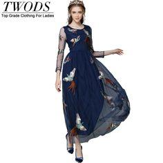 Autumn Elegant High Quality Embroidery Mesh Long Sleeve  Maxi Dress Slim Fit & Flare  Vestido
