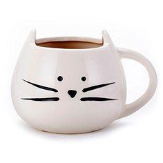 Asmwo Funny Ceramic White Cat Shaped Coffee Mug for Cat L...