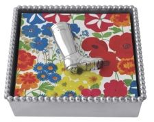"""Beaded Napkin Box with Wellie Weight  Item 2876-C    Price:$48.00 (Suggested Retail)  Materials:Recycled Sandcast Aluminum  Dimensions:5.75""""L x 5.75""""W x 1.5"""" H"""