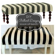DIY Ballard Designs Knock Off Striped Bench | LiveLoveDIY Love!! This woman is crazy talented!!