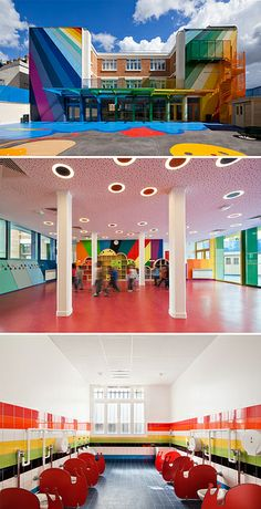 """.:* L - Found by Design Vagabond:   """"Designed by Palatre & Leclère, Ecole Maternelle Pajol is a four-classroom kindergarten in Paris that takes great advantage of the color spectrum as their primary design element."""""""