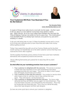 Your Customers Will Ruin Your Business If You Do Not Deliver! by Amanda Watts via slideshare