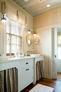 Contemporary Sinks with Farmhouse Curtains
