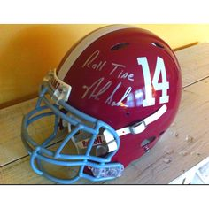 Alabama Crimson Tide football helmet - signed by the man himself, Nick Saban. Perfect for a dad pad!
