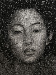 Portraits Made with Sewing Thread and Nails by Kumi Yamashita