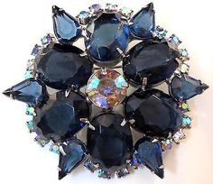 ELEGANT Vintage Cobalt Blue AB Rhinestone Scallop Pin