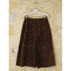 Free People Vintage Brown Texturized Suede Skirt ($198) ❤ liked on Polyvore