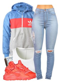 """- Coral Ah-dee-das -"" by missieecapp ❤ liked on Polyvore featuring adidas, Alaïa and NIKE"