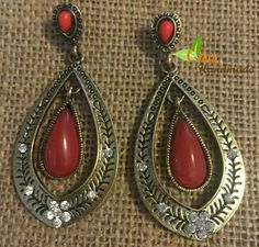 Tribal Red Drops Dangle
