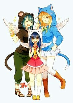 Levy, Lucy, Wendy, dressed up, Pantherlily, Happy, Carla, cute; Fairy Tail