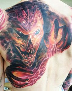 Realistic 3 colors Horror tattoo by Endre Szabo Tattooend World Tattoo, Shoulder Tattoos, Tattoos Gallery, Tattoo Photos, Tattoo Artists, Watercolor Tattoo, Tatoos, Horror, Cute