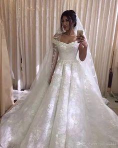 Vintage Lace Muslim Wedding Dress 3D floral applique Off Shoulder Arabic Style Bridal Gowns Vestidos De Novia White princess Bride Dresses