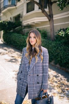Gal Meets Glam Jumpstart To Fall Theory coat and sweater, Frame denim, and Coach bag, c/o