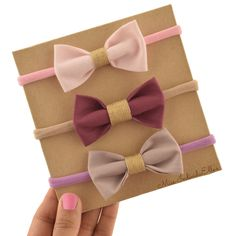 Fabric Bow, Baby Headband, Bow Headband, Nylon Headband, Hair Bows, Gold Bows,Vintage Violet Bow, Pink, The Little Fancy Bow, 3 pack Bows by MissIndividuElles on Etsy
