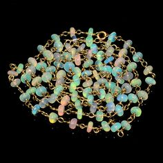 """21CRTS 3.5to3.8MM 24"""" ETHIOPIAN OPAL RONDELLE BEADS CHAIN NECKLACE OBI1474 #OPALBEADSINDIA"""
