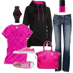 Love this outfit. I'm not a big pink-wearer, but I love the jeans, sweatshirt, and purse. Converse Outfits, Sporty Outfits, Cute Casual Outfits, Fashion Outfits, Womens Fashion, Black Converse, Fashionable Outfits, Work Outfits, Fashion Clothes
