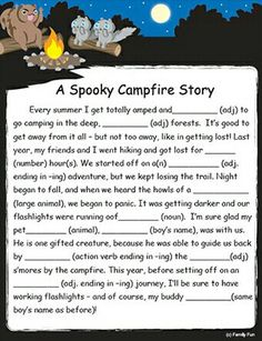 A Spooky Campfire Fill-Them-in Tale (Family Fun) - Totally a MUST for a mini camping trip - and knowing my familys sense of humour. LOL :) - I can already imagine the laughter. Camping With Kids, Go Camping, Camping Ideas, Family Camping, Camping Indoors, Camping Activities For Kids, Camping Crafts, Family Kids, Camping Parties