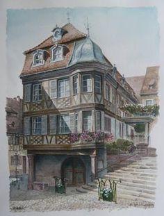 André Pfrimmer Aquarelle vue de Barr Alsace