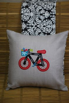 Bicycle lovers unite!  Such a cute way to add color to your decor - appliqué designs stitched out by www.etsy.com/shop/abbeyroadembroidery