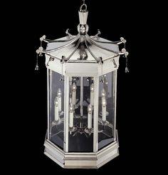 "Hanging Pagoda Bell Lantern HL 104 | Charles Edwards | 11.75""D x 18.25""H,      24""D x 36""H, 27.25""D x 42.25""H"