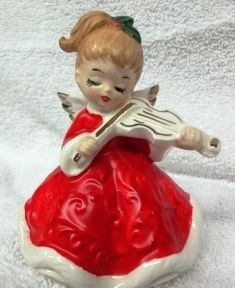 Vintage (LEFTON) Japan CHRISTMAS MUSIC VIOLIN ANGEL FIGURINE | eBay