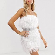 Sexy Tassel Strapless Rhinestone Belt Mini Dress – lovejewelryacc outfit for party prom dresses dress for christmas party dress summer party Party Dress Outfits, Prom Party Dresses, Dream Wedding Dresses, Homecoming Dresses, Bridal Dresses, Evening Dresses, Cute Simple Dresses, Nice Dresses, Amazing Dresses