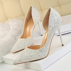 LAKESHI Women Pumps Extrem Sexy High Heels Women Shoes Thin Heels Female Shoes  Wedding Shoes Gold Sliver White Ladies Shoes 6057c72bae4e